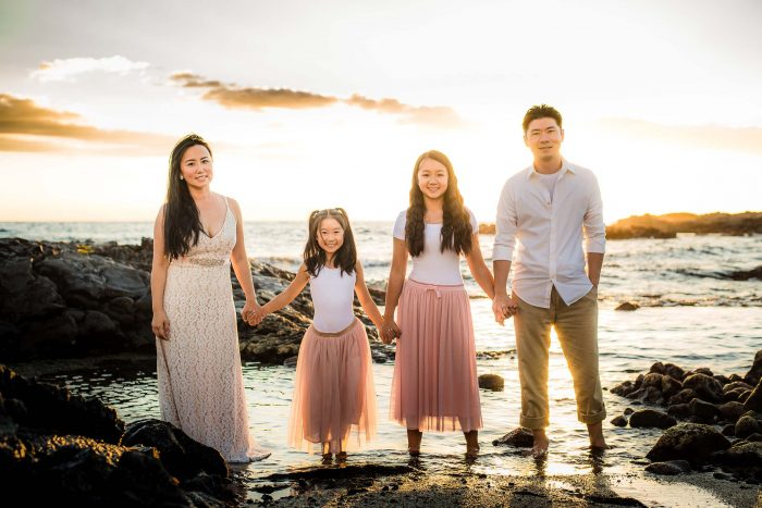 old kona airport beach, family, photography, big island, hawaii, sunset