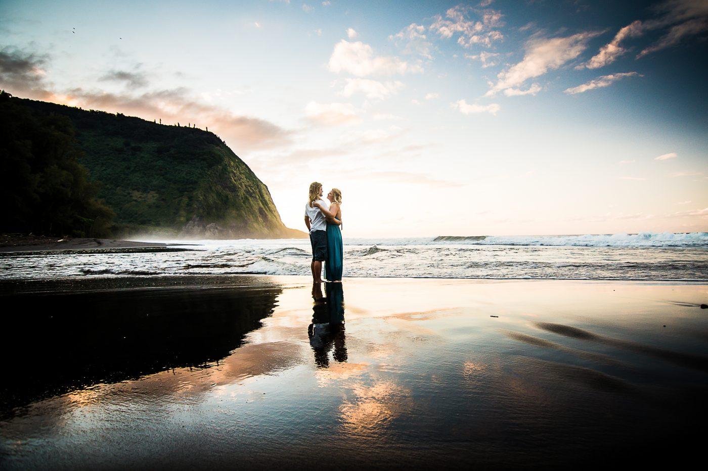 waipio valley, big island, hawaii, engagement, reflection