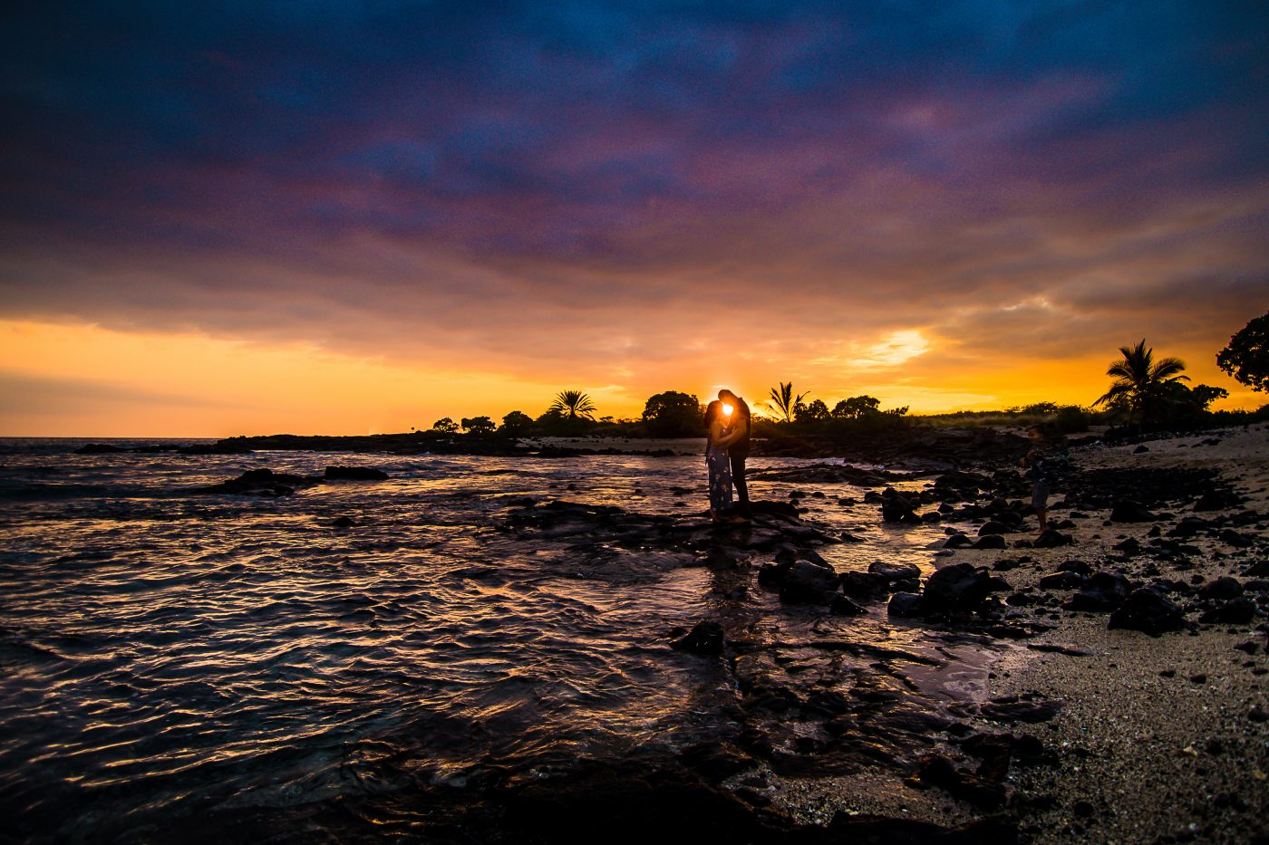 old airport beach, sunset, couple, engagement, hwaii